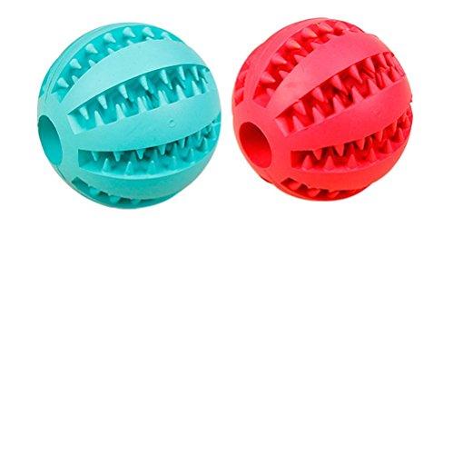 AGIA Tex Hunde-Spielzeug für Zahnpflege | Leckerli-Ball, Hundeball | Mentaltraining & Spielspaß für Hunde | Snackball aus robusten Naturkautschuk 7 cm, Set 1 x Blau & Rot