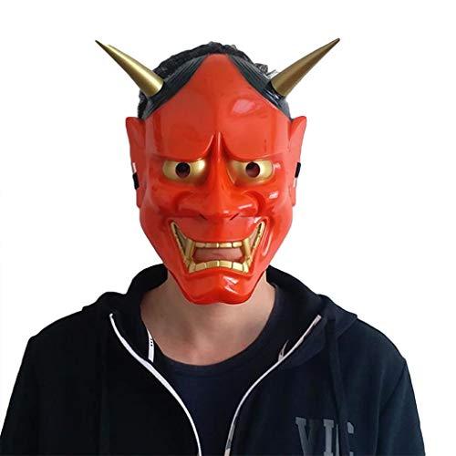 QWEASZER Japanische Hannya Maske Halloween Horror Teufel Cosplay Maske Buddhismus Prajna Ghost Traditionelles Thema Party PVC Japanische Krieger Masken,Red-OneSize (Red Hulk Kostüm Kinder)