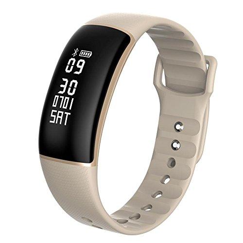 zhuotop Smart Watch Sports Digitale Herzfrequenz Monitor Smartwatch Herren Frauen Fitness Tracker Armbanduhr für iOS Android, khaki