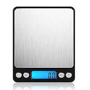 LEMCASE Digitale Küchenwaage - Feinwaage, Taschenwaage, Digitalwaage - Professionelle Elektronische Waage mit beleuchteter LCD-Anzeige, 3kg/0,1g Kapazität | Schwarz
