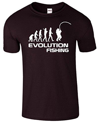 Fishing Evolution Komisch Geburtstag Geschenk Herren T-Shirt Dunkle Schokolade / Weiß Design