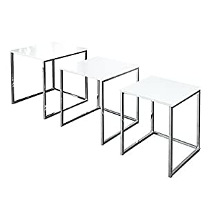 design beistelltisch 3er set fusion hochglanz weiss chrom k che haushalt. Black Bedroom Furniture Sets. Home Design Ideas