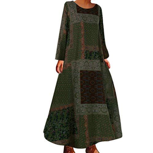 Floweworld Damen Maxi Kleider Casual Ethnic Print Langarm Kaftan Kleider Lose Herbst Strand Lange Kleider Plus Size Alessi Cocktail