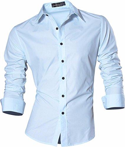 Jeansian uomo camicie un colore solido senza fiori moda abito camicia affari slim casual shirts z029 lightblue s