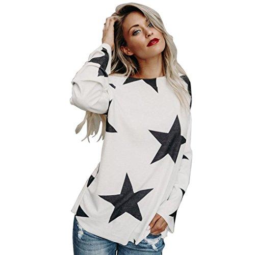 SANFASHION Pullover Damen Frauen Mädchen Strapless Star Sweatshirt Langarm Crop Jumper Tops -