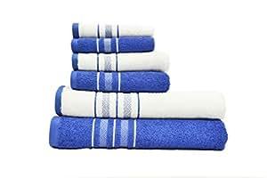 Spaces 6 Piece Cotton Towel Set - Blue and White