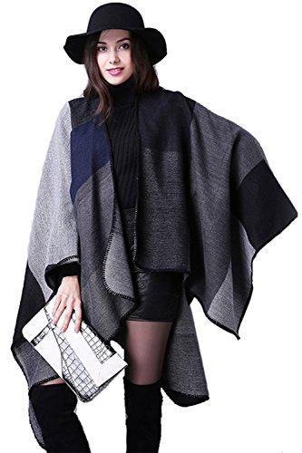 Inverno reversibile donna coperta Poncho Wrap scialle sciarpa oversize Black F