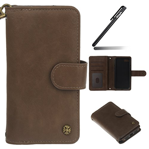 Custodia iPhone 7/8 Cover , Ukayfe Luxury Puro Colore Modello Design Bumper Slim Folio Protectiva removibile Lussuosa Custodia Cover [PU Leather] [Shock-Absorption] con Cinturino da Polso Magnetico Sn marrone 3#