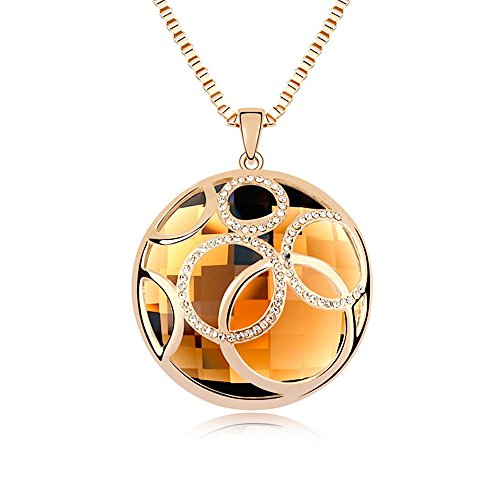 """Kim Johanson Edelstahl Damen Halskette mit Anhänger \""""Dream\"""" Champagner Kristall Collier in Gold mit Zirkonia Steinchen besetzt inkl. Schmuckbeutel"""
