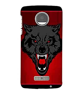 For Motorola Moto Z Play black wolf ( wolf, red background, nice wolf, dangerous wolf, roar ) Printed Designer Back Case Cover By Living Fill