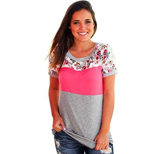 Damen Drucken Bunt Kurzarm T-Shirt Amlaiworld Blumen Patchwork Lässige Bluse (Rosa, L) (Ausschnitt Perlen Halfter)
