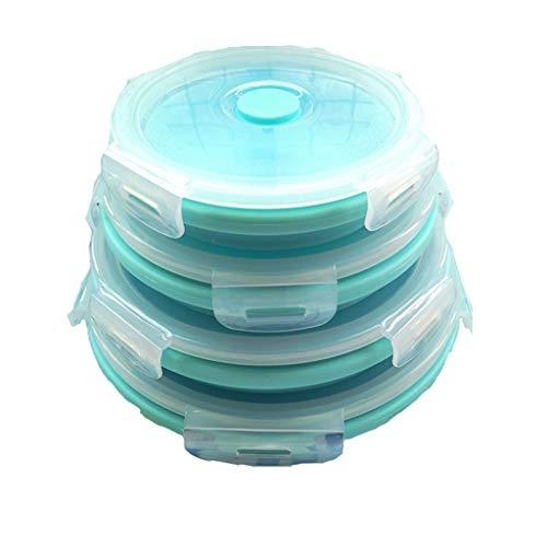 ZYBGW Schüssel, Rührschüsseln Silikon Faltschüssel Mit Deckel Silikon Faltschüssel Erweiterbar Frischhaltedose Set Tragbar (Color : Blue)