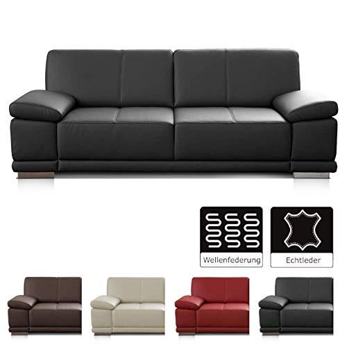 CAVADORE 2,5-Sitzer Sofa Corianne / Kleine Echtleder-Couch im modernen Design / Mit Armteilverstellung / 192 x 80 x 99 / Echtleder schwarz