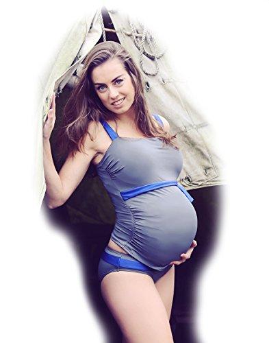 Petit Amour Schwangerschafts-Bikini Umstands-Tankini Alena ♥ Badeanzug Bademode Set Oberteil Unterteil ♥ Blau Grau ♥ Cup E bis G ♥ Gr. L