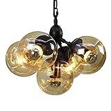Europäischen Vintage Ball Glas Lampenschirm Molekulare Kronleuchter Dekoration Wohnzimmer Schlafzimmer Esszimmer Persönlichkeit Industrie Deckenpendelleuchte E27 (Größe : 5-lights)