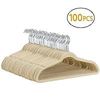 Yaheetech Velvet Hangers,100 Pack,Non-Slip Coat Clothes Hangers, 45cm Standard 360°Swivel Hook Black/Beige/Grey/Pink