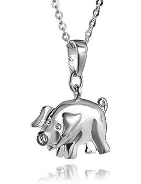 MATERIA Schwein Kettenanhänger Silber 925 rhodiniert - Damen Kinder Glücksbringer Glücksschwein für Kette #KA-197