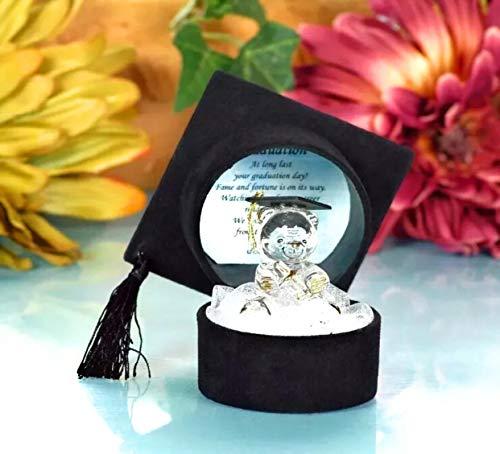 bschluss, aus Kristallglas, Doktorhut-Geschenk-Box mit Gratulationsgedicht ()