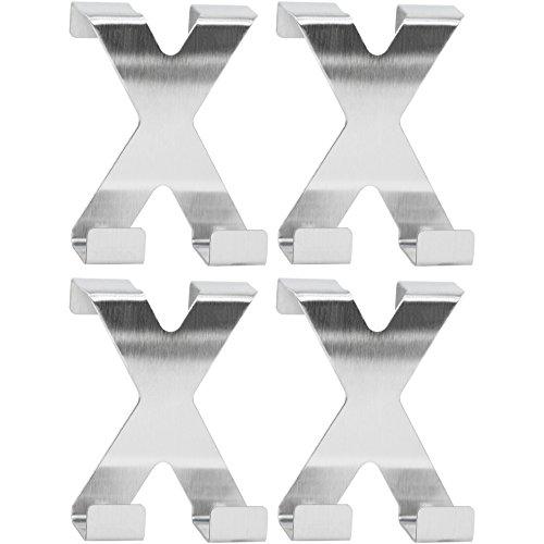 Com-four® 4x ganci per porta in acciaio inox, ganci per porte, ganci appendiabiti, ganci a forma di x. (04 pezzi)