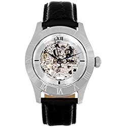 Continuum - CO15005B - skeleton wrist watch for men - automatic movement - analog display - transparent dial - black leather bracelet