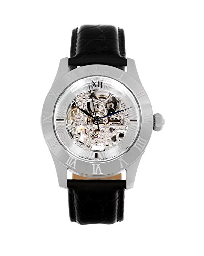 Continuum Herren-Armbanduhr Automatik Analog Skelettuhr Leder Schwarz - CO15005B