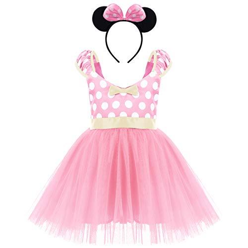 FYMNSI Kleinkinder Baby Mädchen Gepunktet Tüll Kleid Prinzessin Geburtstag Polka Dots Tutu Ballettkleid Tanzkleid Kinder Weihnachtskleid mit Ohren Stirnband Outfit Fasching Karneval ()