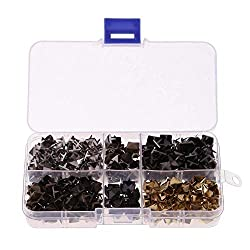 Demiawaking 400Pcs 8mm Spike Square Studs Rivets Brass Gold Silver Black Pyramid Studs for Leather Clothing Jacket Shoes Bags Jeans Craft