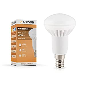 SEBSON LED Lampe E14 R50 6W (5.5W), ersetzt 40W Glühlampe, warmweiß, 400lm, Leuchtmittel 160°
