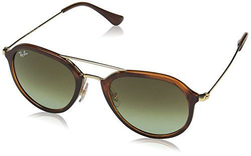 Ray-Ban RAYBAN Unisex-Erwachsene Sonnenbrille 4253, Stripped Havana/Green Gradient Brown, 50
