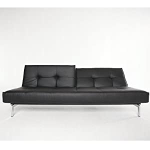 Innovation Splitback Schlafsofa Chrom, schwarz Kunstleder 582 Leather Look Black Gestell Chrom Liegefläche 210x115cm