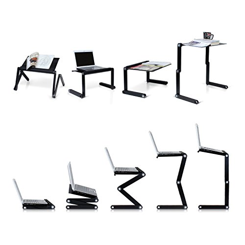 Notebook holder laptop desk Masrou Ergonomisch Notebook Laptop Stnder Tisch Bett Frhstck Tablett Lapdesks Ausklappbare Ebenen Aluminium Notebookstnder Schwarz Lapdesks