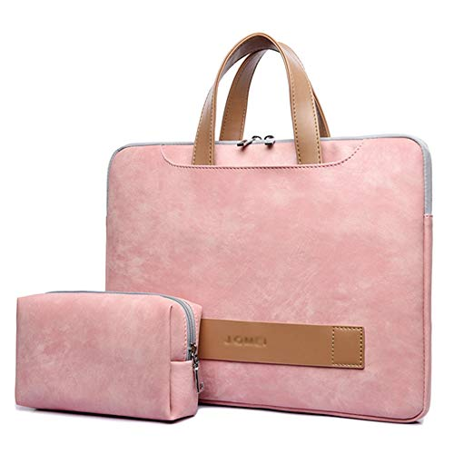 YR-R Ultradünne Laptop Aktentasche Tasche Portable PU Leder Notebook Computer Hülle Multi-Funktions Business Tote Ultrabook Tablet Tragetasche Haut Cover,Pink-14Inch
