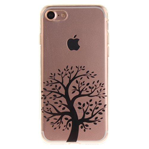 iPhone 7 Hülle,iPhone 7 Hülle Case,iPhone 7 Silikon Hülle [Kratzfeste, Scratch-Resistant], Cozy Hut iPhone 7 (4,7 Zoll) Hülle TPU Case Schutzhülle Silikon Crystal Kirstall Clear Case Durchsichtig, Far Rund Schwarz-Baum