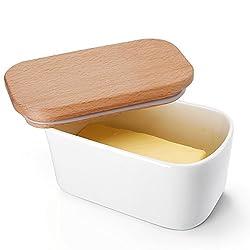 Sweese 3151 Butterdose Porzellan für 250 g Butter, Holzdeckel mit Silikon-Dichtlippe, groß, Weiß