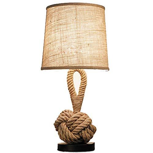LICIDI Cáñamo Cuerda Retro Mesa lámpara Creativa Dormitorio lámpara de Noche Moderna Minimalista...