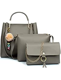Mammon Women's Stylish Handbags Combo (3LR-bib-Grey)