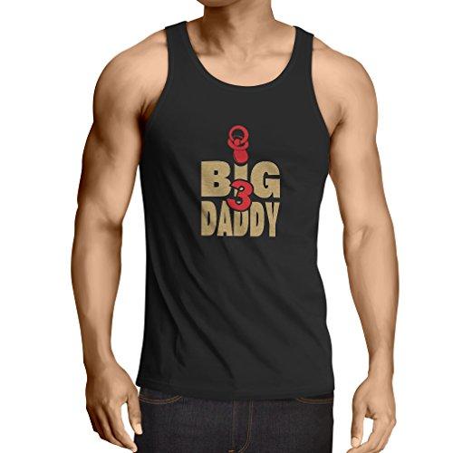 Camisetas de Tirantes para Hombre Papá grande, para el papá con 3 niños, regalo divertido para él (Large Negro Oro)