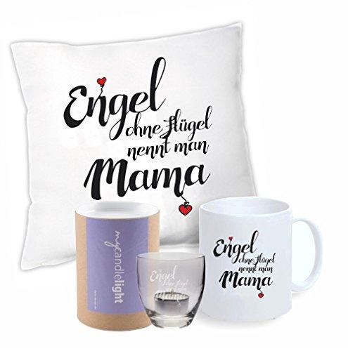 """SET Kissen + Tasse + Leonardo Windlicht """"Engel ohne Flügel nennt man Mama"""" in Geschenkbox - Weihnachtsgeschenk - Muttertag - Geburtstag - Geschenkidee für Mutter - Mama - originelles Geschenk"""
