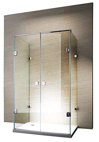 Duschabtrennung U-Form EX412-Kombi 8mm ESG-Glas Nano Rahmenlose Dusche, Maße Duschkabine:120x90cm, Zubehör Duschkabine:Ohne Duschtasse