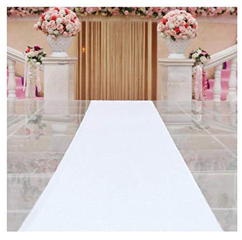 Gang-Läufer-Pailletten-Teppich für Hochzeit, Kirchen-weiße Wolldecke, Gang-Läufer (Farbe : Weiß, größe : 1x10 m) ()
