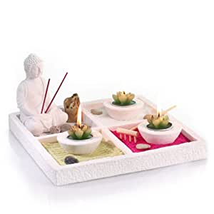 zen garden set buddha on tray with 3 candleholders 3. Black Bedroom Furniture Sets. Home Design Ideas