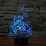 LLZGPZXYD Lampada da Cross-Country Motocicletta 3D A LED 7 Lampeggiatore A Cambio di Colore Lampada da Scrivania 3D Deco Vision Lampada USB A LED per Dormire