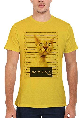 Cat Kitten Meow Mug Shot Funny Men Women Damen Herren Unisex Top T Shirt Licht Gelb