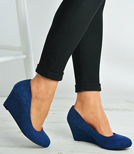 Cucu Fashion ,  Damen Durchgängies Plateau Sandalen mit Keilabsatz Dunkelblau