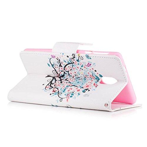 LEMORRY Nokia 3 Hülle Tasche Ledertasche Flip Beutel Haut Slim Bumper Schutz Magnetisch Soft SchutzHülle Weich Silikon Cover Handhülle Schale für Nokia 3, Kunstbaum - 7