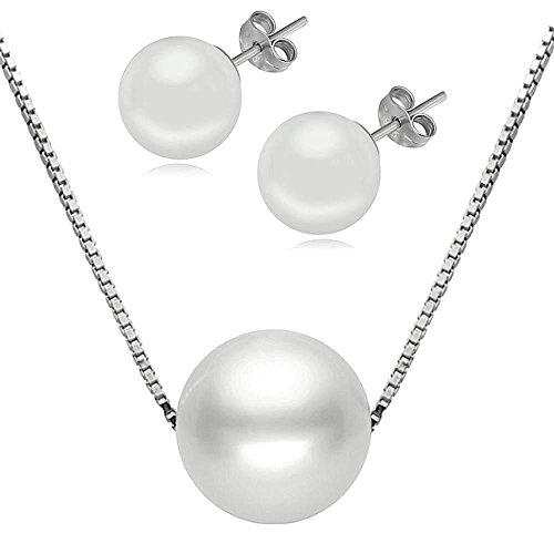 """Kim Johanson Damen Perlen Schmuckset \""""Eleganz\"""" aus 925 Sterling Silber Halskette & Ohrringe Perle inkl. Schmuckbeutel"""