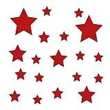 Kleb-drauf® - 19 Sterne/Rot - matt - Aufkleber zur Dekoration von Wänden, Glas, Fliesen und allen anderen glatten Oberflächen im Innenbereich; aus 19 Farben wählbar; in matt oder glänzend