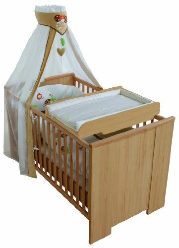 roba Wickelplatte inkl. Wickelauflage 'Waldtiere', Universal Wickelunterlage zum Aufsetzen auf alle Baby- & Kinderbetten, Wickelaufsatz natur