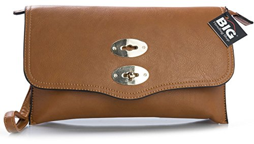 Big Handbag Shop - Borsetta senza manici donna (Medium Tan (BH471))