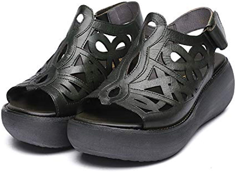 Qiusa Évider Boucle Les  s Femmes Crochet Boucle Évider Sangle Peep Toe Chaussures en Cuir Vintage (coloré : Vert, Taille...B07H1RQRNBParent 6f6060